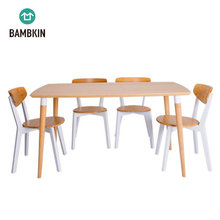 BAMBKIN bamboo furniture kitchen dining room table and chair set for 4/6 five-pieces rectangle dining table set