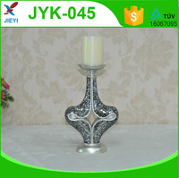 Elegant heart-shape silver mosaic glass resin candle holder