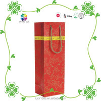 Wedding Favor Red Art Paper Golden Foil Gift Paper Wine Bag