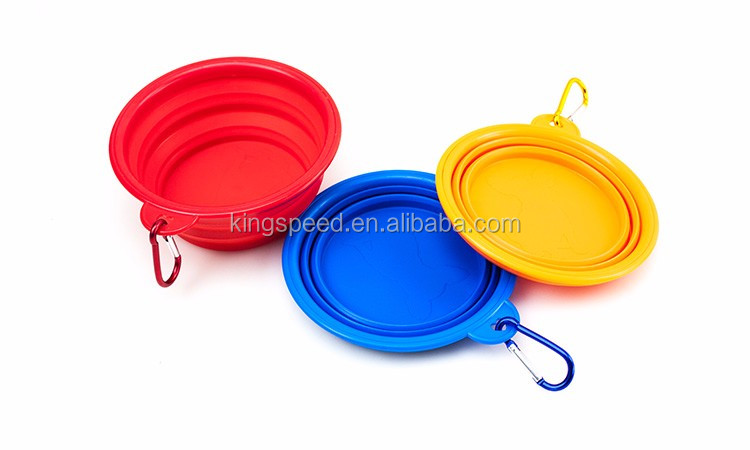 Premium food water feeding portable foldable silicone BPA free collapsible travel dog bowl with free carabiner