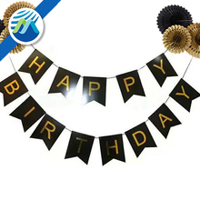 Hot Stamping Letters Happy Birthday Banner Paper Flowers Fan with Hanging Party Decorations