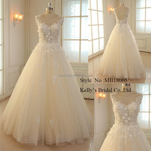 Champagne Sexy V-neck Floor Length backless bridal gowns handmade Flowers lace modest wedding dresses