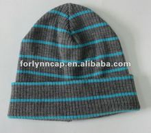 acrylic knitted striped beanie hat