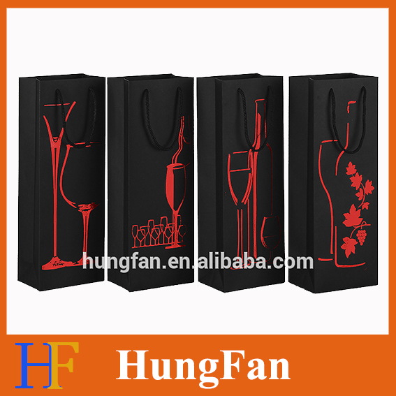 New year celebration elegant design hot stamping paper party bags for wine