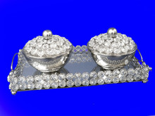 Crystal Bowl Set , Crystal Beaded Set with Tray , Bowl set with Lid