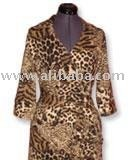 safari print jersey-knit wrap dress