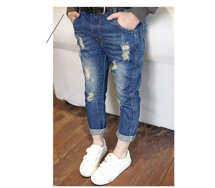 Spring 2015 kid fashion brand boy and girl pants casual children skinny kids ripped jeans,kids girls and boy jeans Free Shipping