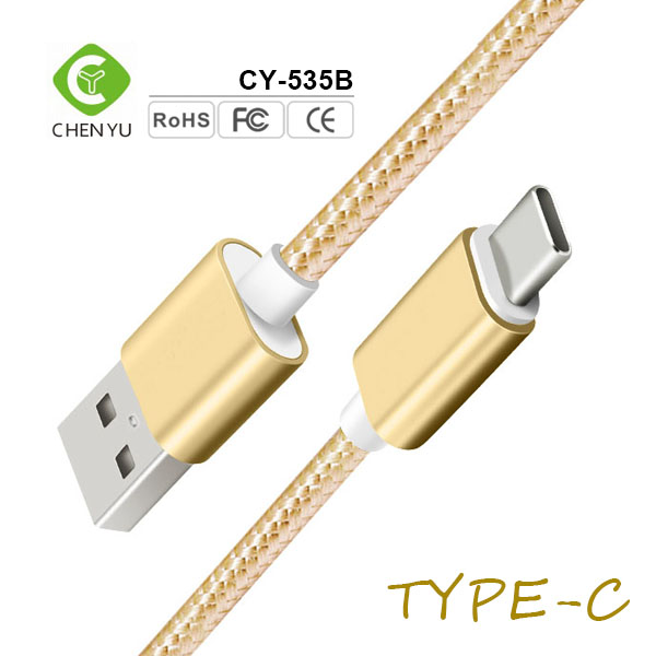 2017 Made in china high end nylon braided aluminum alloy type c usb cable price