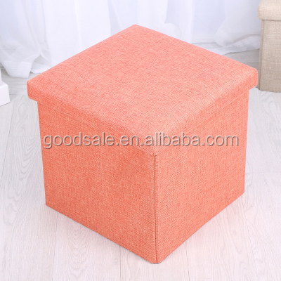 Top quality fancy stool ottoman polyester collapsible couple stool box folding ottoman