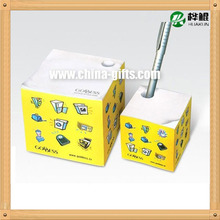 Memo cube/paper block/cube with 4-side printing, pouched with pen holder, measures 8.5x8.5x8cm