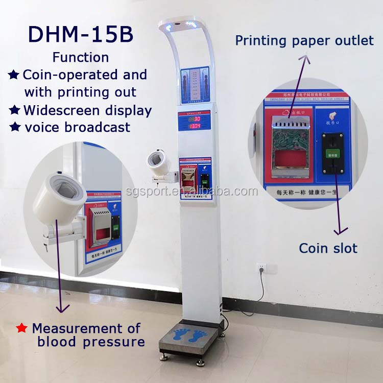 vending ulstasonic height weight bmi blood pressure machine with coiner adn printer SG-DHM-15B