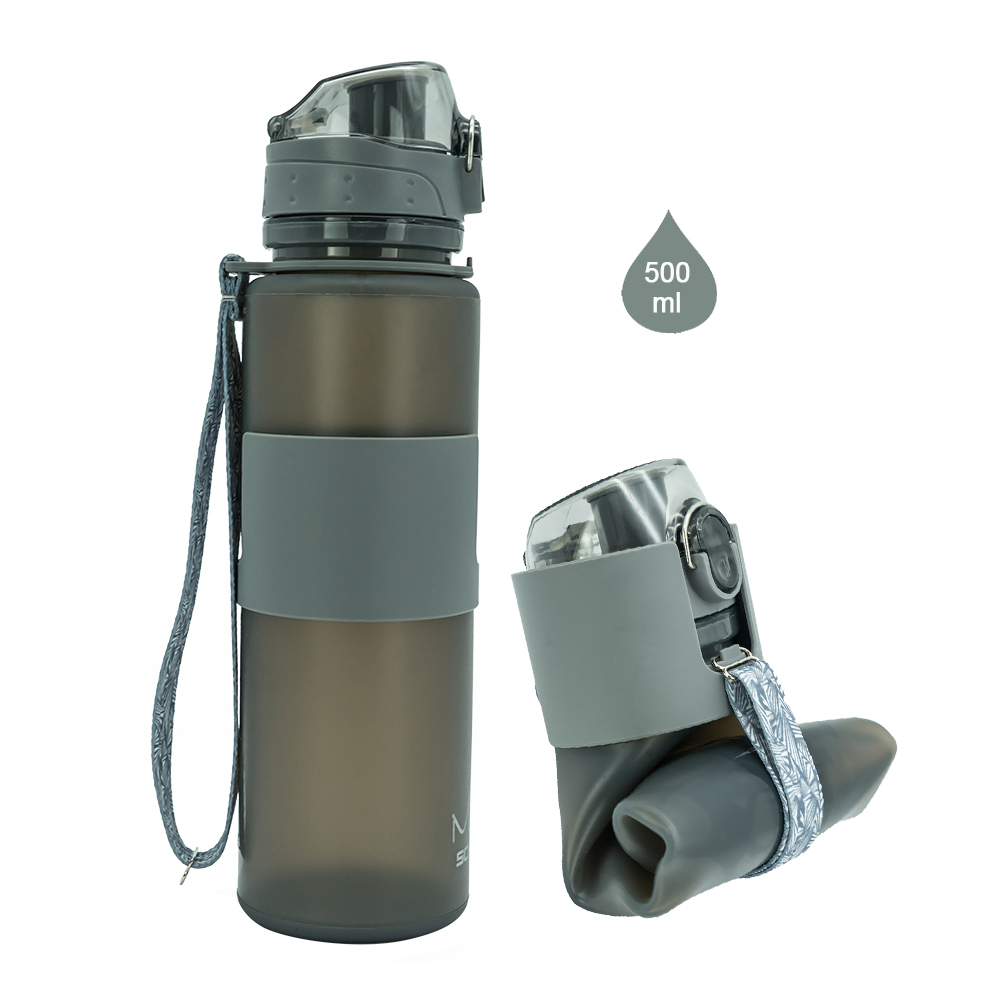 500 ml 16 oz Best quality outdoors sports foldable water bottle with one touch cap