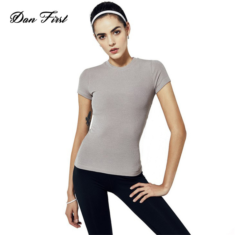 Wholesale Plain Tight Sports Short Sleeve Women's Round Neck Screw Thread T-Shirt