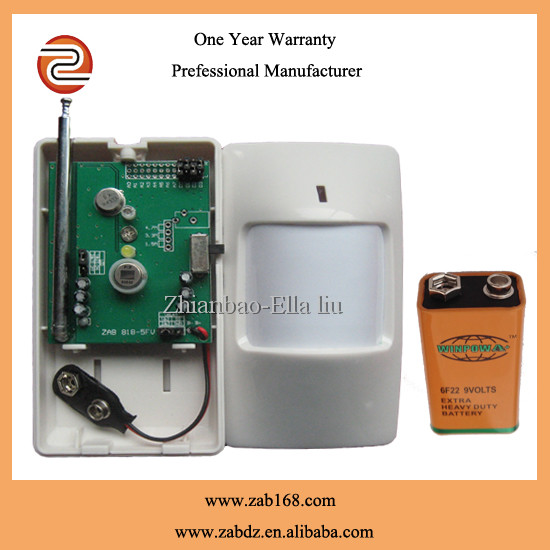 ZAB-818,Household wireless PIR motion sensor,200M transmitting distance PIR auto detector