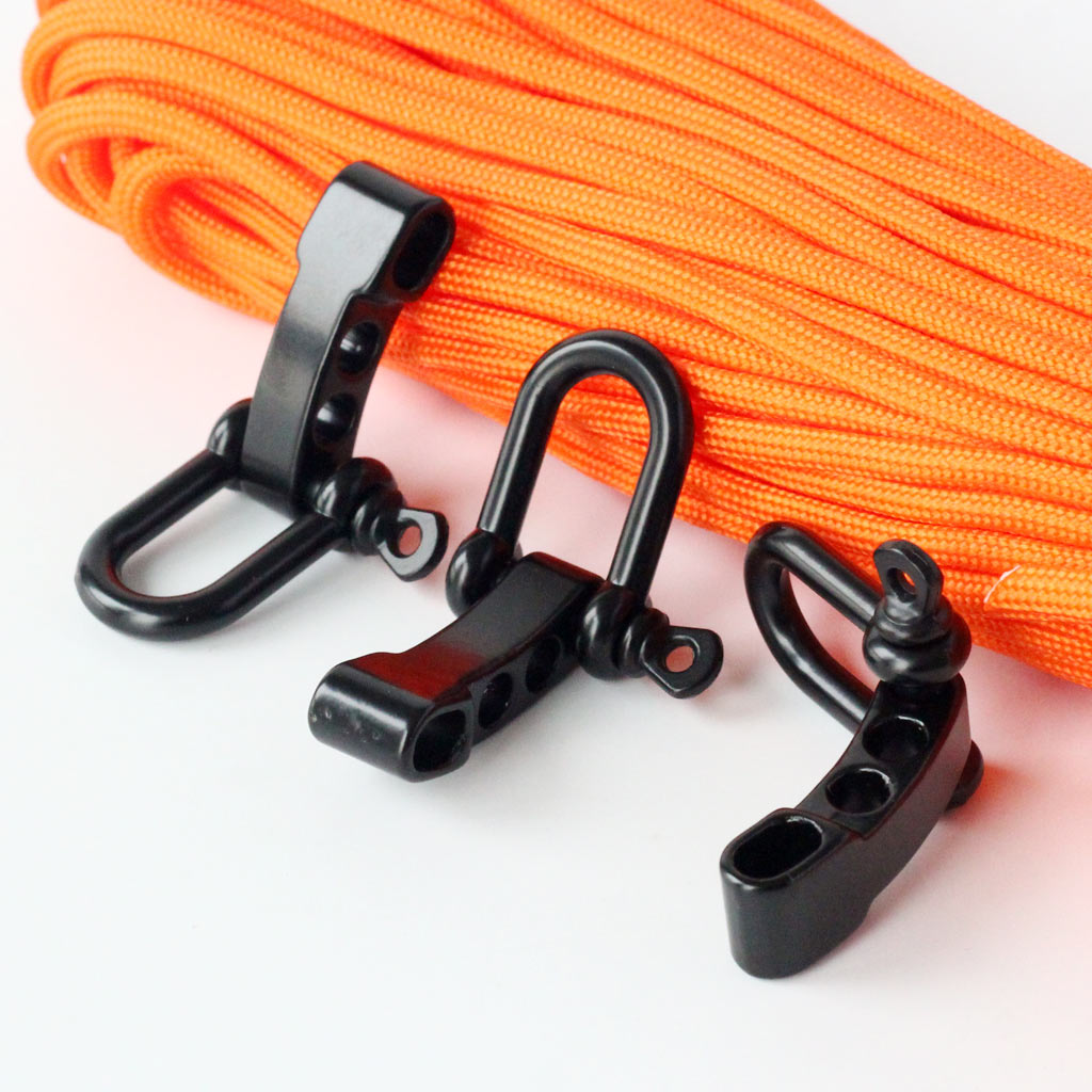Adjustable Shackles Buckle Black U-Shaped With 4 Holes for Paracord Outdoor Rope DIY Survival Bracelets