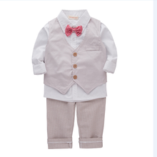 Wholesale 1-5y Kids Clothing Cotton Vest Shirts Pants 3 pcs Baby Boy Outfits Photos Baby Boy Dress For Wedding Party