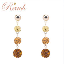 2018 New Product Long Type Girls Sparkle Drop Ball Earrings With Crystal