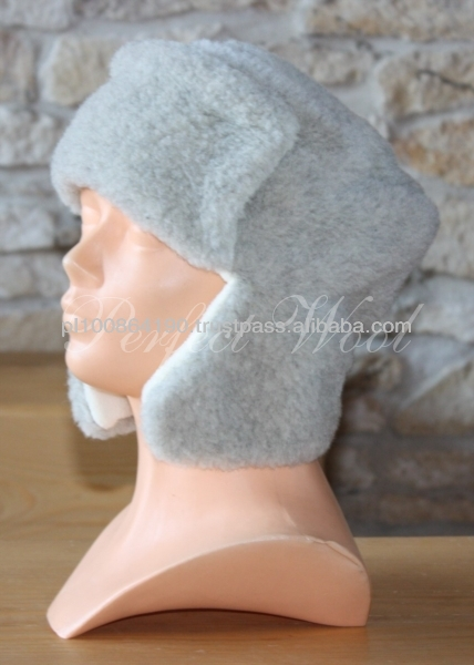 Winter Wool Cap with fleece Siberian hat with earflaps natural