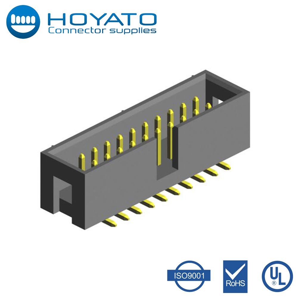 OEM Plastic Electrical Box Connectors 1.27 x 2.54mm Box Header Connector with Brass Contact and 5.6mm Plastic Height