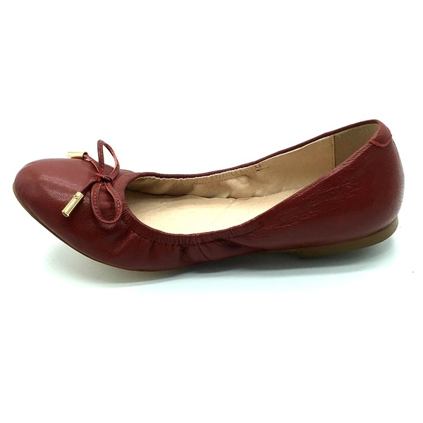 the goat leather winered flat shoes for big size