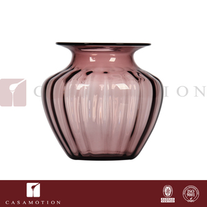 CASAMOTION Mouth Blown Decorative Ribbed Purple Solid Color Thick Fluted Flower Glass Vase