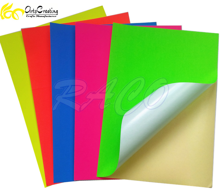 self adhesive craft neon color A4 paper with sticker