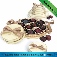 2016paper round beige color chocolate box with ribbon