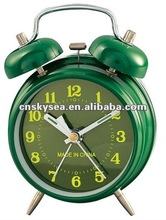 Mechanical double bell alarm clock with windup spring movement