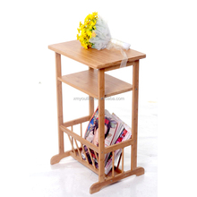 modern bamboo decorative corner shelf rack for magainze and flower etc