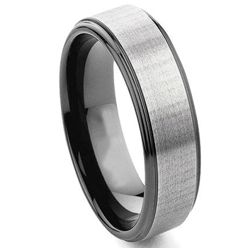 Brushing black plated comfort fit tantalum ring