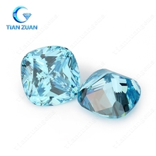 AAAAAA+ cubic zirocinia aqua blue color synthetic gems cushion shape cz diamond super high quality 6A+ for luxury product design