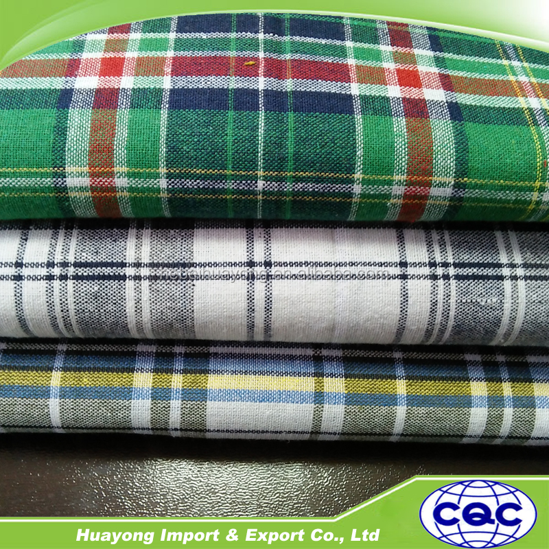 100% cotton gingham check woven fabric for garments