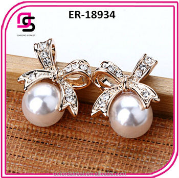 2016 fashionable handmade pearl Earring with bow design jewelry