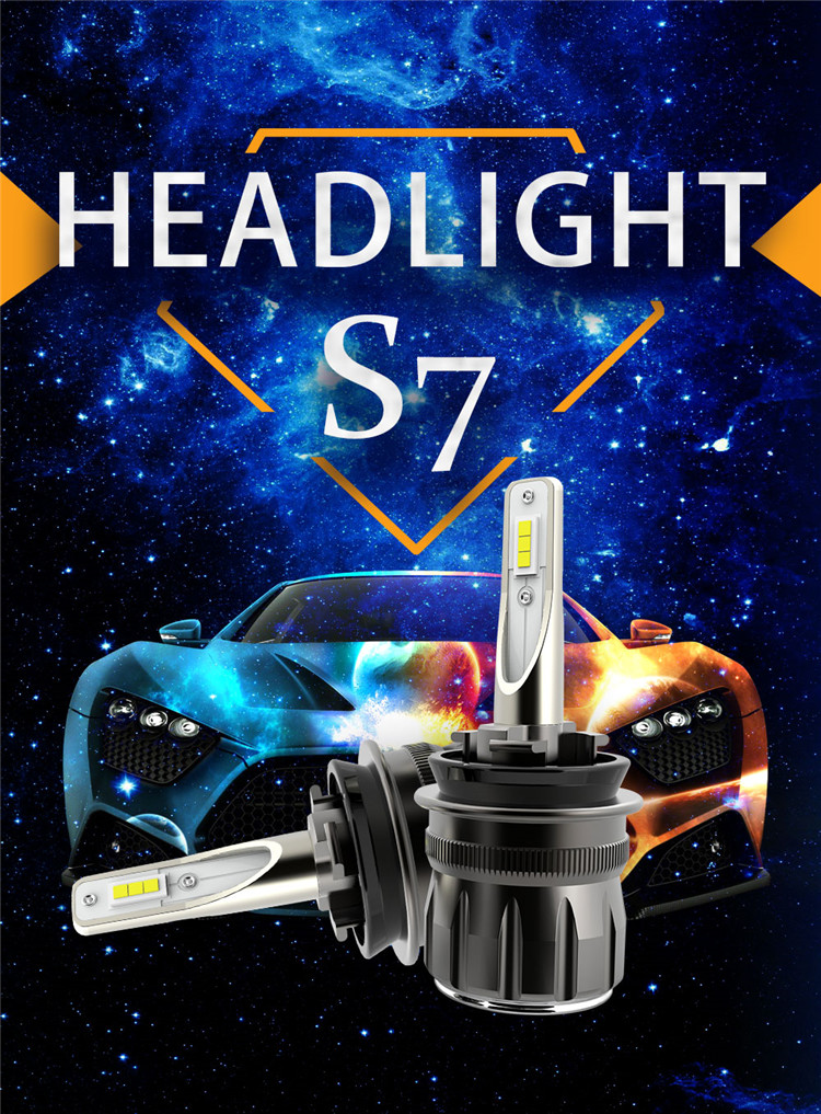 Mini size aviation aluminum turbo fan high power 40W super lumen S7 led headlight bulbs with wide range canbus application H11