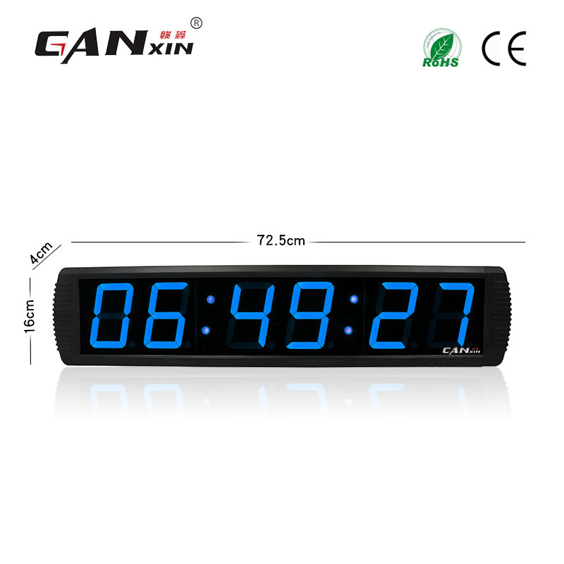 [Ganxin]Wholesale 4'' 6 Digits Led Electronic Square Calendar Led Clock Electronic Digital Led Wall Clock