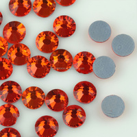 China wholesale price crystal rock, orange color hot-fix crystals diamante, flat back stones