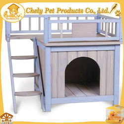 Double-decker Wooden Dog House For Sale With Veranda And Stair Solid Wood Pet Cages,Carriers & Houses