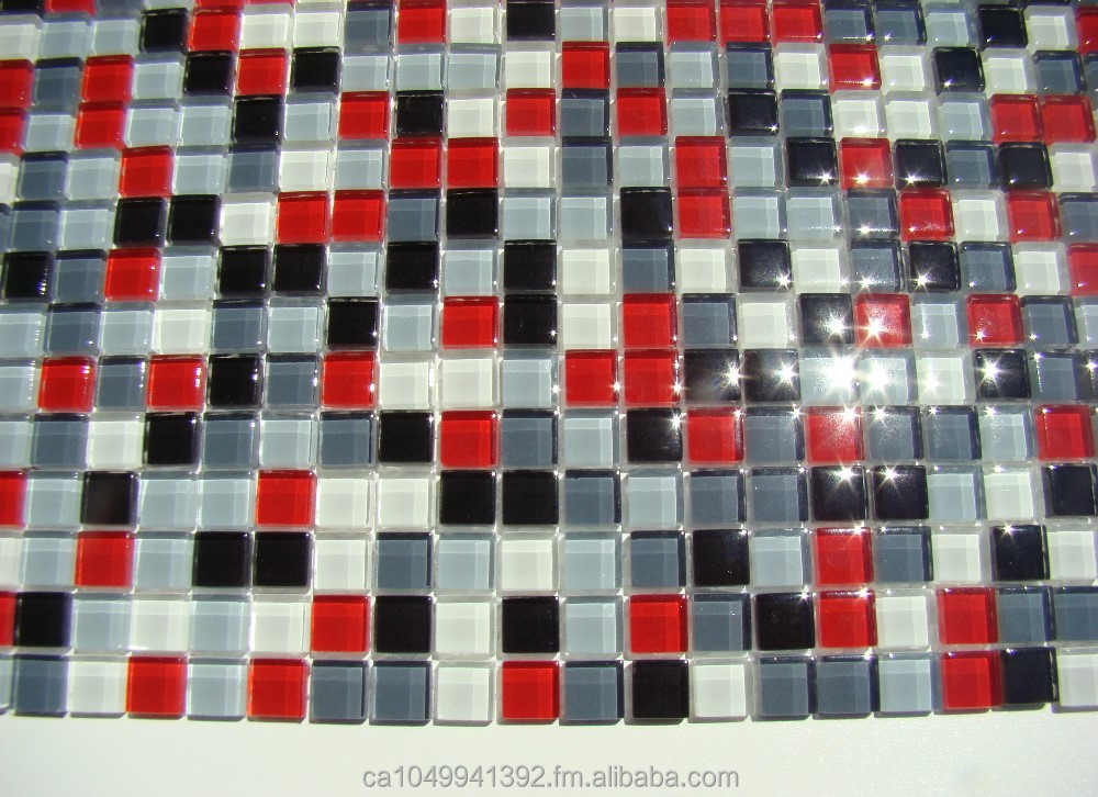 Burst rouge blanc noir gris verre carr dosseret de for Carrelage mosaique rouge