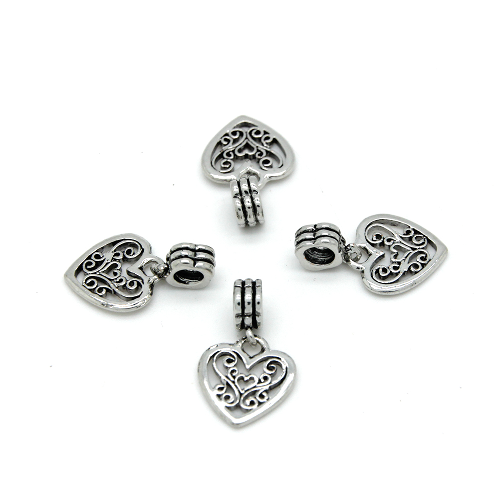 Handmake Antique Silver Jewelry Alloy Heart Pendant Bulk <strong>Charm</strong> PCR0007