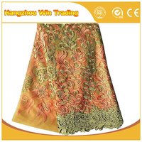 Popular 2016 In USA Latest Peach Bridal Tulle Lace High Quality French Net Laces For Wedding Dresses