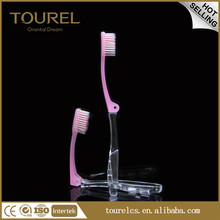 fresh design pink foldable toothbrush with transparent down handle