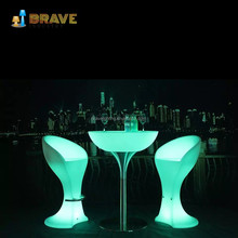 Anti-uv Grade 8 luminous led bar table and bar chair