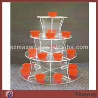 Round Clear Acrylic 4 Tiers Tower Birthday Party Cupcake Stand