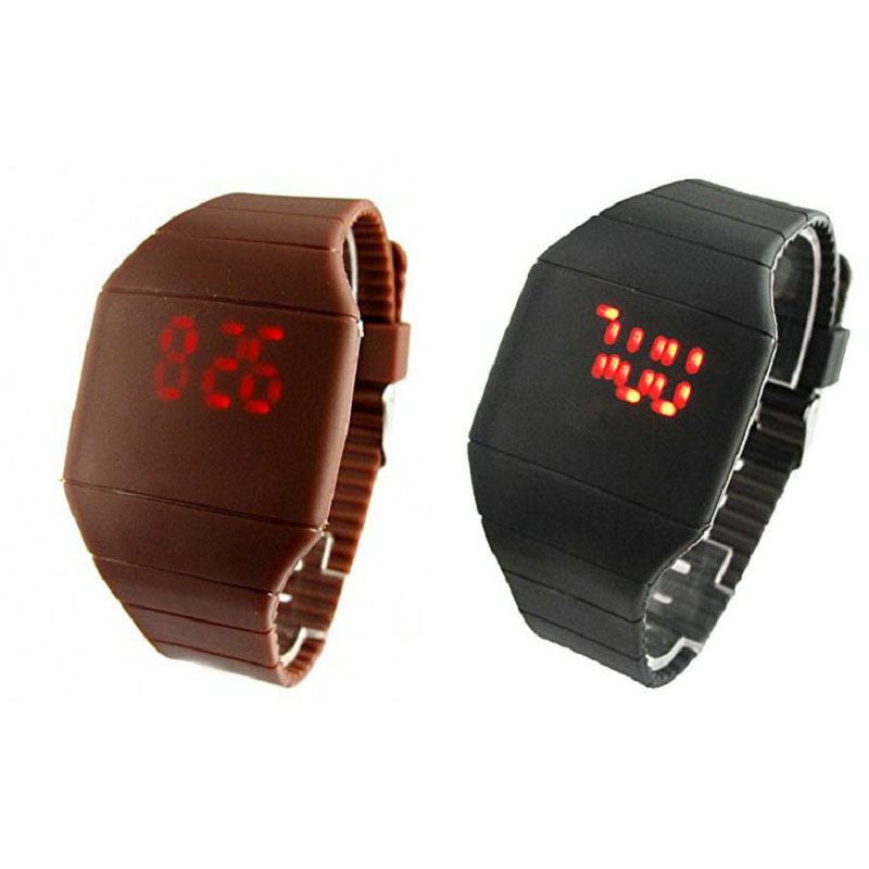 OEM Silicone Watch Red LED Digital watches Wrist Watches for men women