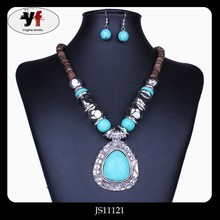 Malaysia Coconut Shell Turquoise Water Drop Pendant Necklace Set