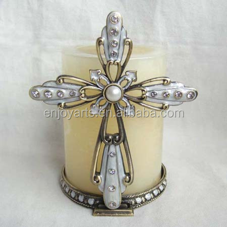 antique metal cross candle holder for home decoration(P02107a2)