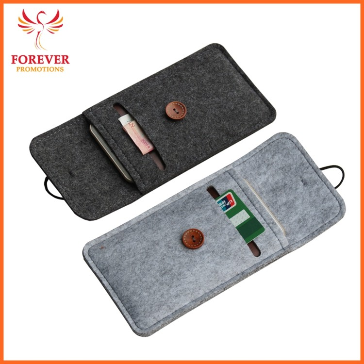 Cheap Felt Mobile Phone Case Custom Logo Phone Holder Promotional Gifts Card Sleeve