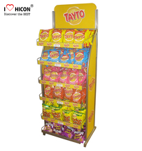 Discover The Best Taste Of Your Brand Sweet Candy Stand Alone Pop Chips Advertising Retail Store Metal Food Display Stand