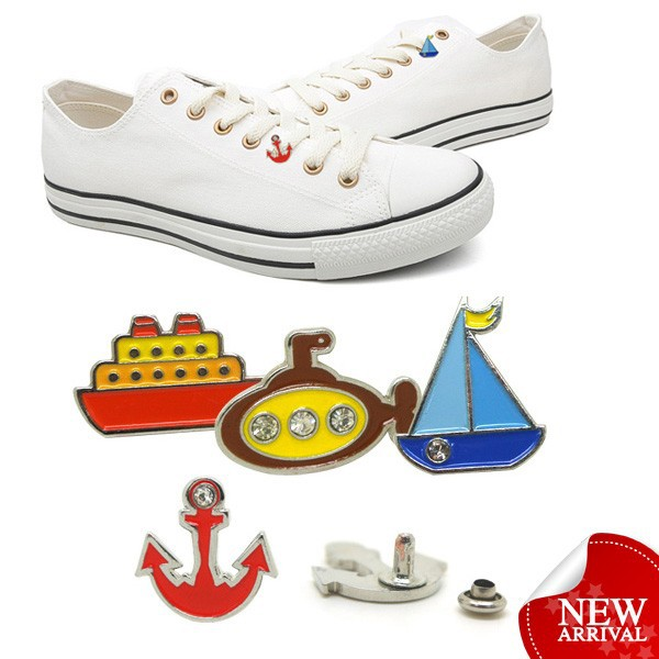 custom decorative metal shoe charms for canvas shoe