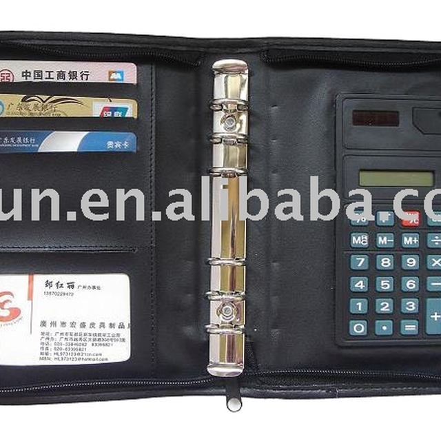 leather bank card holder with calculator